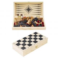 Набор настольных игр дорожный 3 в 1 арт. G7966 (нарды, шахматы, шашки, доска)