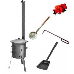 Комплект казан 10 л + ус. печь с трубой + аксессуары
