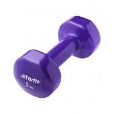 Гантель виниловая StarFit DB-101 5 кг фиолетовая