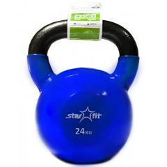 Гиря чугунная с виниловым покрытием StarFit DB-401 24 кг темно-синяя