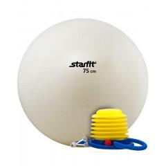 Мяч гимнастический STARFIT GB-102 с насосом 75 см антивзрыв, белый