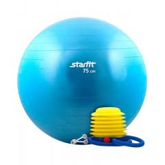 Мяч гимнастический STARFIT GB-102 с насосом 75 см антивзрыв, синий