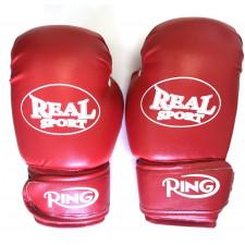 Перчатки  боксерские  REALSPORT 10 унций, красный