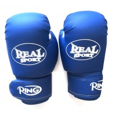Перчатки  боксерские REALSPORT 10 унций, синий