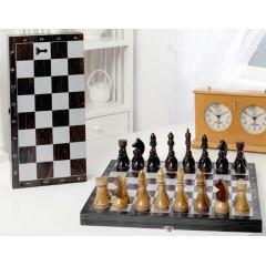 Шахматы гроссмейстерские деревянные с черной доской, рисунок серебро 182-18