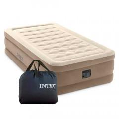 Односпальная надувная кровать Intex 64426 Ultra Plush Airbed With Fiber-Tech + насос (99х191х46см)