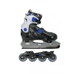 Коньки роликовые/ледовые раздвижные со сменным шасси Action PW-392 р.33-36 (черный/синий)