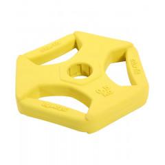 Диск обрезиненный с хватами StarFit BB-205 d-26 мм (0,5 кг) жёлтый