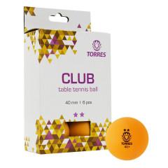 Мяч для настольного тенниса Torres Club 2*, арт.TT21013 оранжевый, 6 шт.