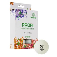 Мяч для настольного тенниса Torres Profi 3*, арт.TT21012 белый, 6 шт