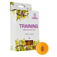 Мяч для настольного тенниса Torres Training 1*, арт.TT21015 оранжевый, 6 шт.