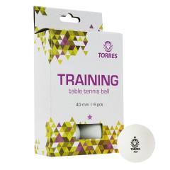 Мяч для настольного тенниса Torres Training 1*, арт.TT21016 белый, 6 шт