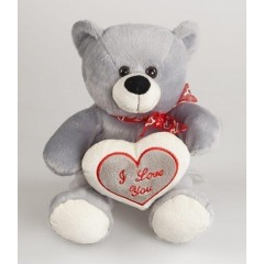 Медведь серый с сердцем 22 см Fluffy Family 93423